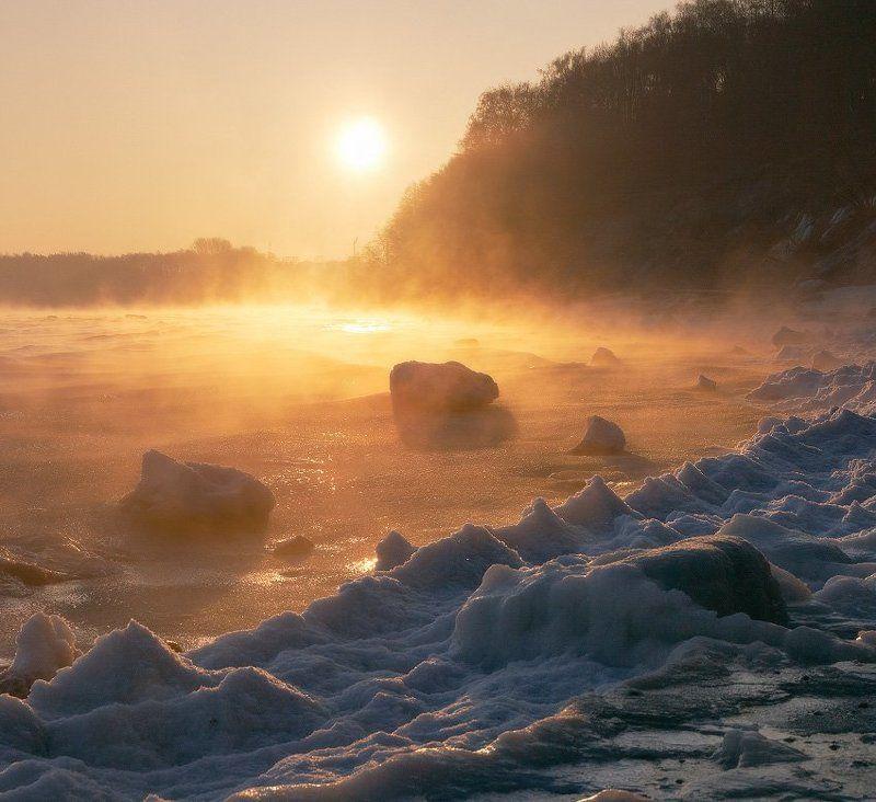 море, Балтийское море, пар, лёд, зима Парное мореphoto preview