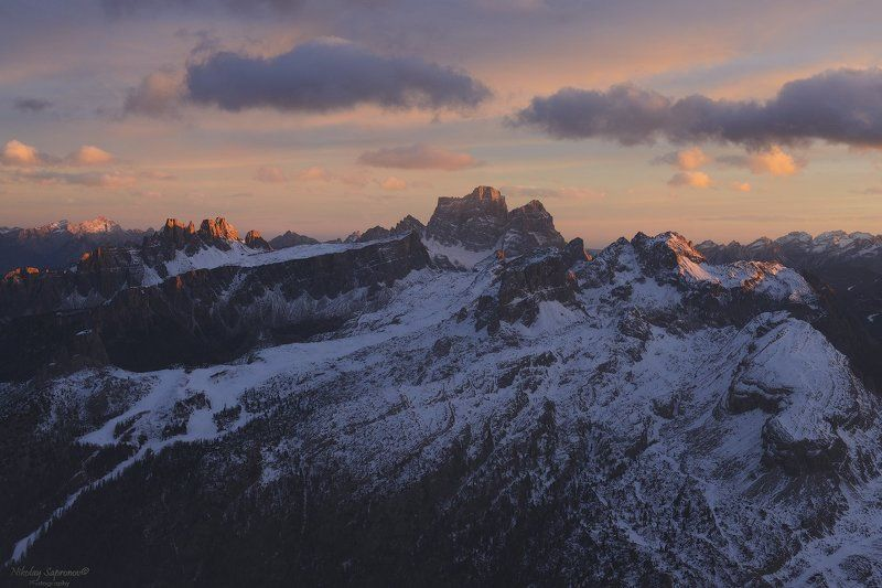 alps. sunset, cinque torri, croda da lago, croda da negro, dolomites, folzarego, italy, landscape, winter, альпы, доломиты, закат, италия \