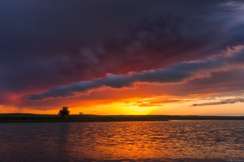 закат, озеро, вечер, весна После грозыphoto preview