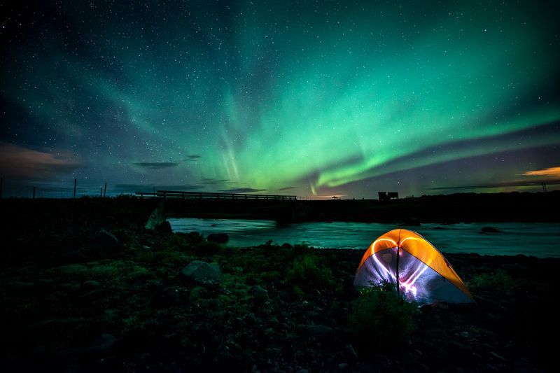 Northern lights, iceland, camping Northern lights in Icelandphoto preview