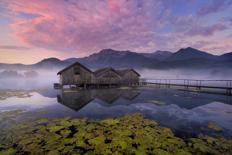 Germany, Bavaria, Bayern, Garmisch-Partenkirchen, Alpen, Alps, Kochelsee, morning, fog, europe, travel, beautiful, beautiful place,clouds, lake Kochel Bavaria - Kochelseephoto preview