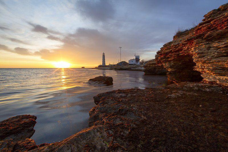 мыс, крым, закат, вечер, тарханкут, берег, маяк, море, солнце, камни, пейзаж, небо, Вечерний Тарханкут.photo preview
