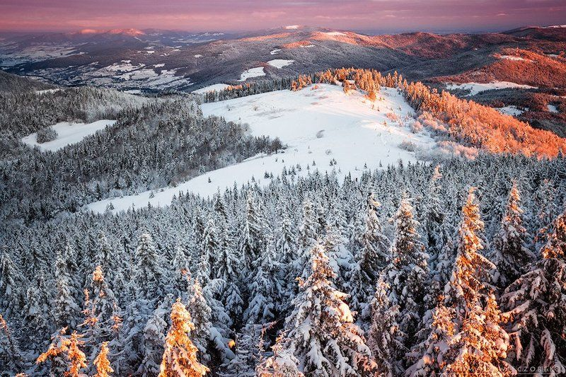 sunrise, poland, mountains, gorce, light, snow, winter, orange Light of sunrisephoto preview
