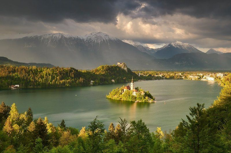 bled, lake, landscape, slovenia, rays, church Rays on the lake Bledphoto preview