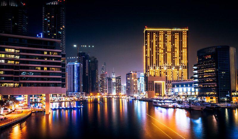 dubai, uae, landscape, architecture, light, city, town, night, life, color, building Dubai Marinaphoto preview