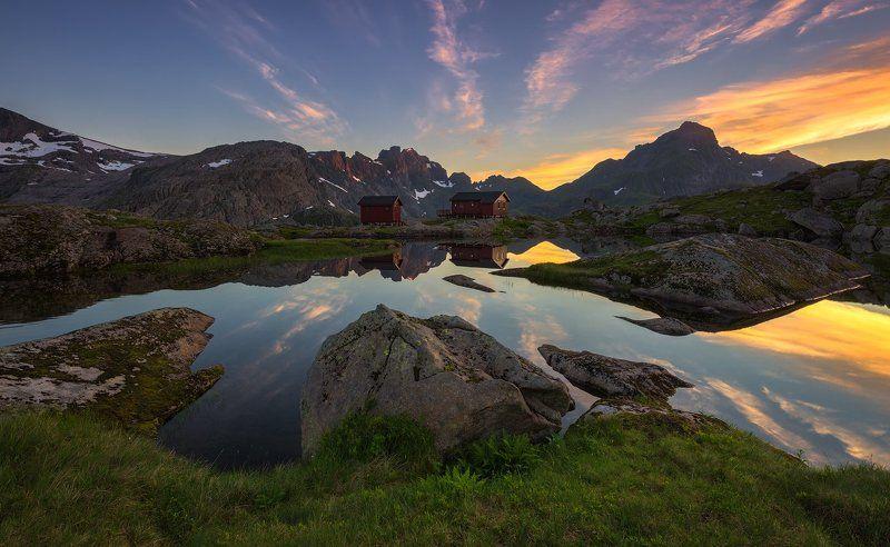 norway, норвегия, море, путешествие, lofoten, лофотены Хижины \