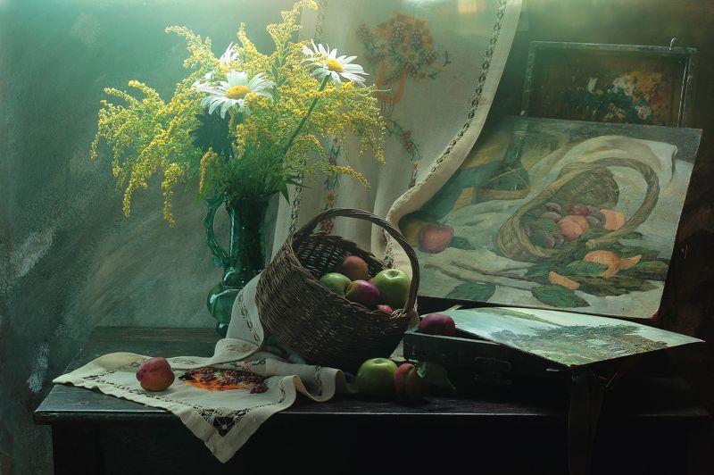 букет,цветы,этюдник,картина,живопись,масло,корзина,фрукты Натюрморт с картинойphoto preview