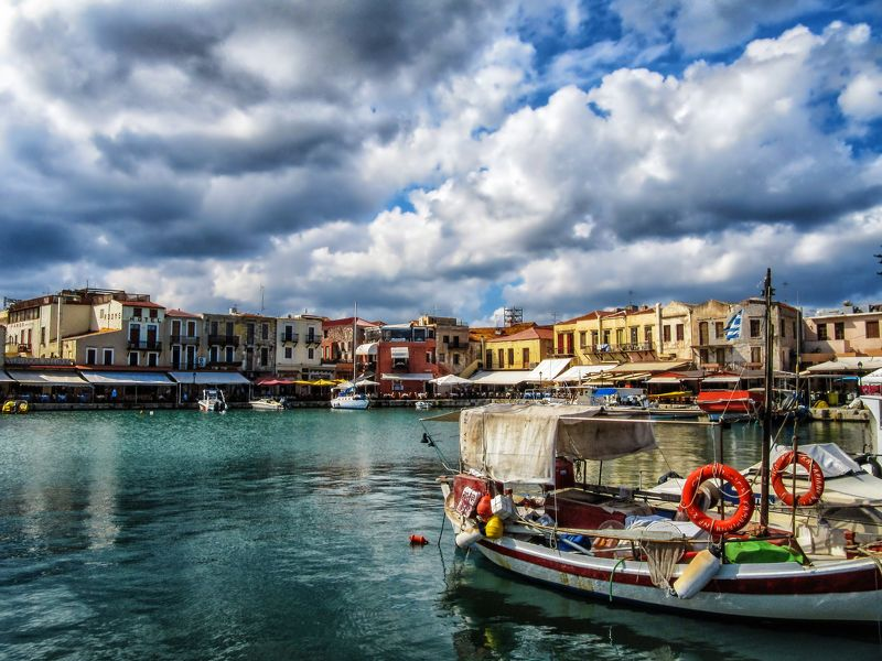 crete, clouds, sky landscape, tourism, travel, harbour, venetian, colorful Sea Breezephoto preview
