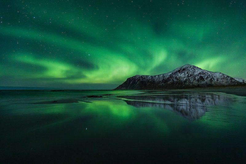 aurora, borealis, norway, winter, nothern, lights, lofoten, skagsanden Party on Skagsanden beachphoto preview