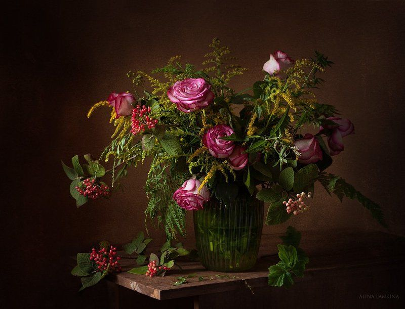 натюрморт, розы, полевые цветы, букет, лето, ваза с цветами, алина ланкина ***photo preview