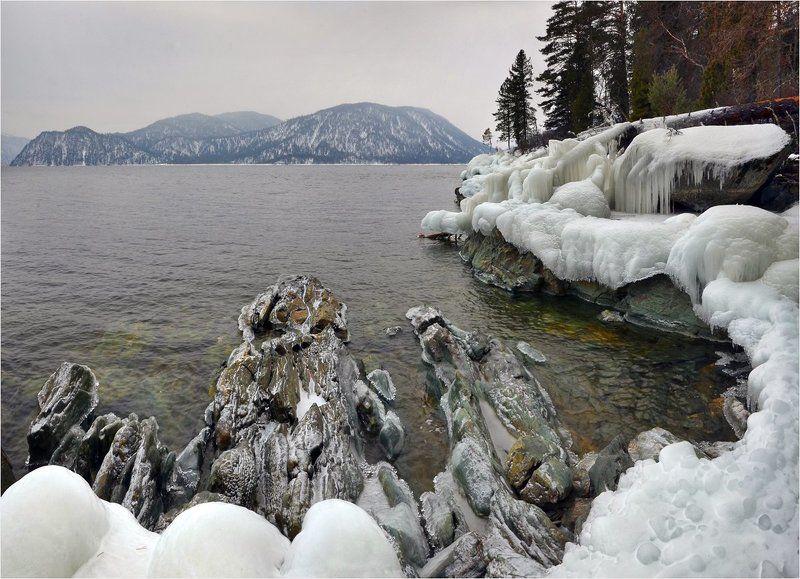 телецкое озеро, яйлю, лёд, зима Ледяные берегаphoto preview