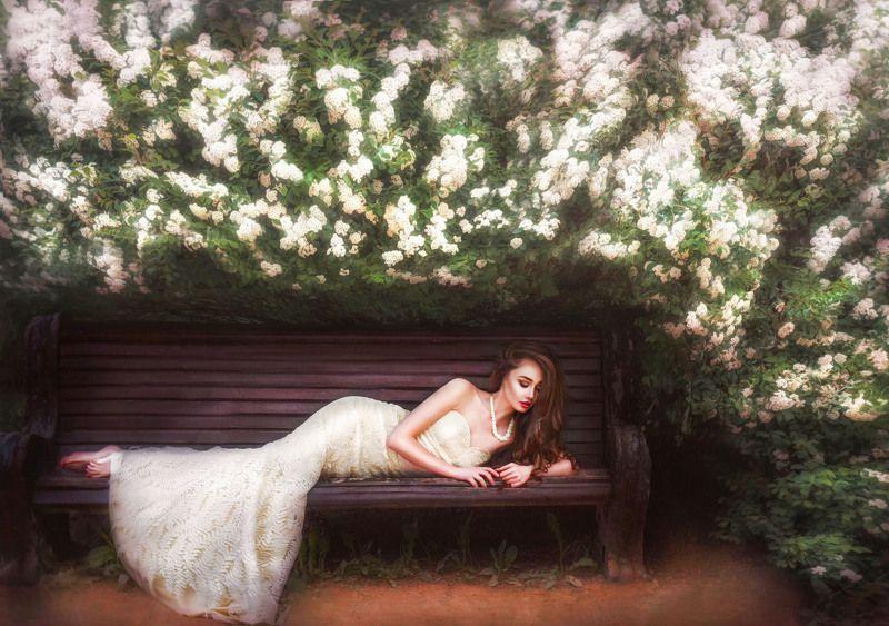 девушка,леди.белый,цветение,цветы photo preview