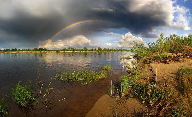 spring, rainbow, river, belarus, rain, sun, water, clouds, may, landscape, nature, fisheye, весна, радуга, гроза, река, солнце, пейзаж, фишай, май, природа, облака Spring rainbowphoto preview