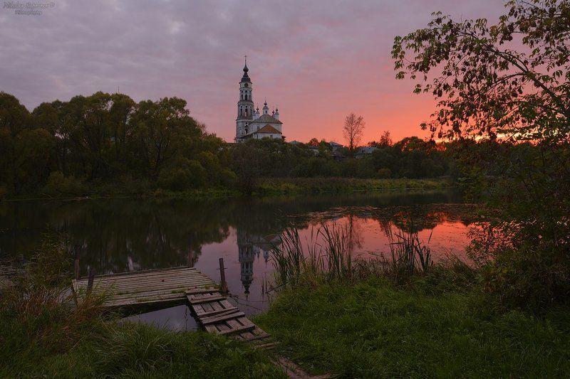 лежнево, ивановская область, золотое кольцо, закат, сельский пейзаж, осень, река Сентябрьский закат в Лежневоphoto preview