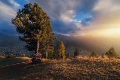 Италия. Доломиты. Вечерний свет у деревни Selva di Val Gardena