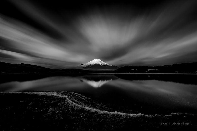 Fuji,Japan,mountain,lake water,ice,cloud,reflection,sky Shining summit (B&W)photo preview