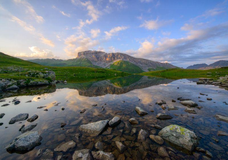 загедан, горы, карачаево-черкесси, озеро, закат, вечер Нежный вечер над Загеданомphoto preview
