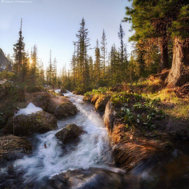 красноярский край, западные саяны, национальный парк  ергаки, озеро, закат, лазурное, покой, природа, ручей. \