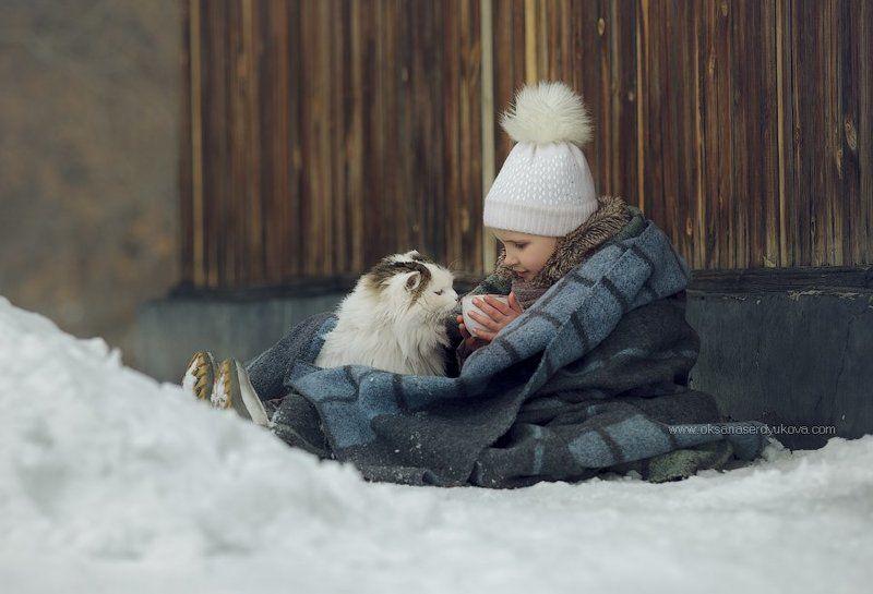 дети,семья,зима,улица,кошка,друг другphoto preview