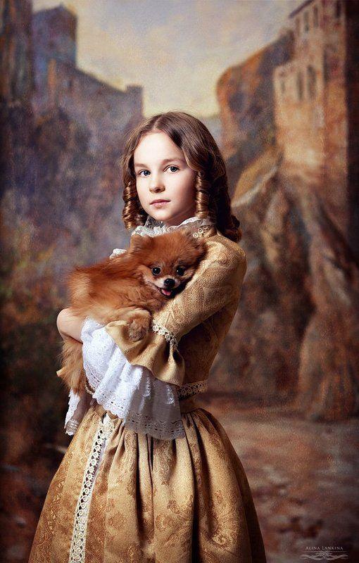 портрет, девочка, семейное фото, собака, шпиц, алина ланкина ***photo preview