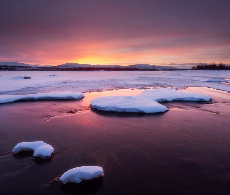 lapland, finland, polar,sunset Закат в лапландииphoto preview