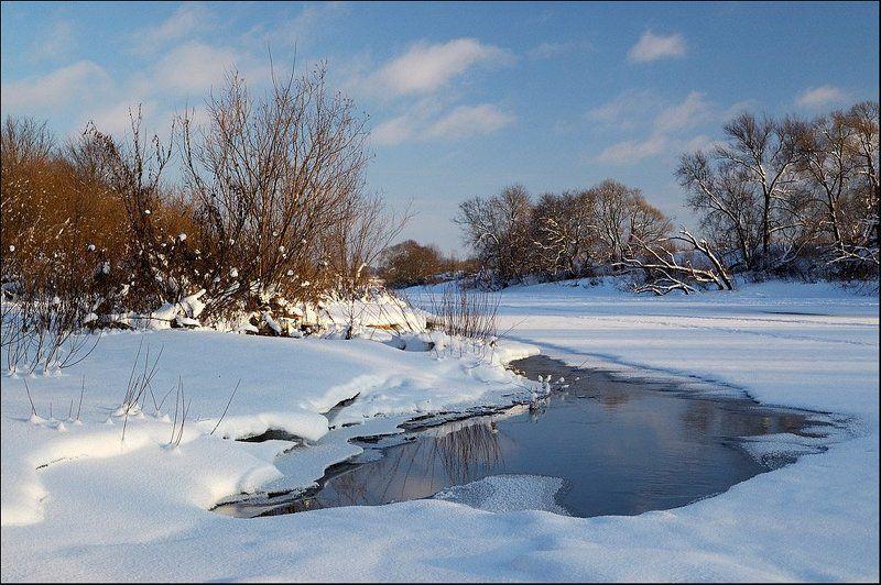 зима, речка, лед, полынья Замерзающий родникphoto preview
