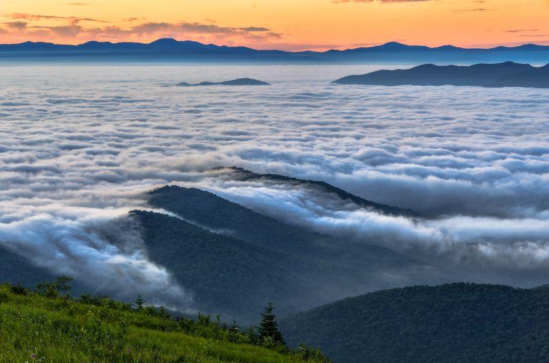 Приморье, Приморский край, Облака, рассвет, туман Море облаковphoto preview