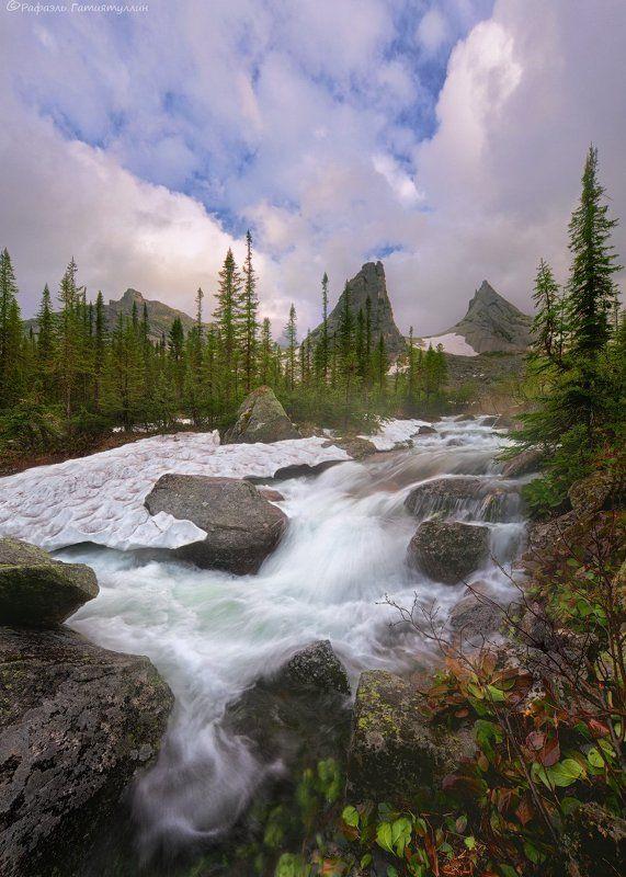 красноярский край, западные саяны, национальный парк  ергаки, озеро художников, закат, хребет, парабола, природа, ручей. \