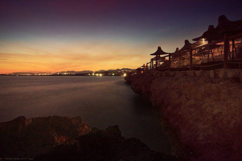 египет, шармальшейх, море, вечер, закат, берег, отель Египетские Ночиphoto preview