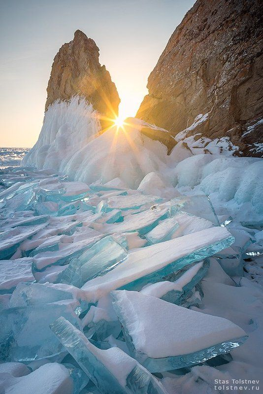 байкал, малое море, ольхон, лед, зима, хобой Рассвет на Байкалеphoto preview