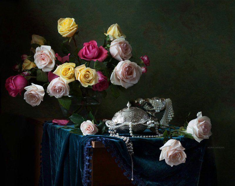 натюрморт, цветы, розы, посуда, серебро, жемчуг, алина ланкина, букет, фотонатюрморт ***photo preview