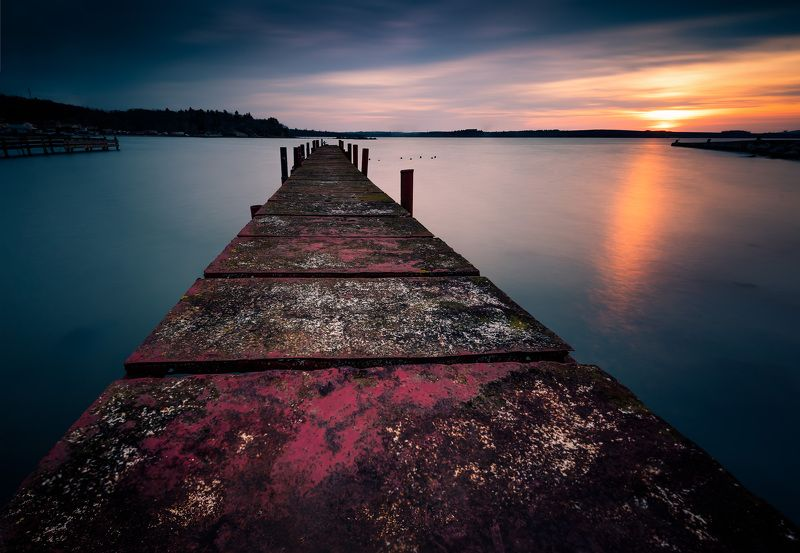 sunset, landscape, nature, water, sea, pier, long exposure Sunset in the end of the winterphoto preview