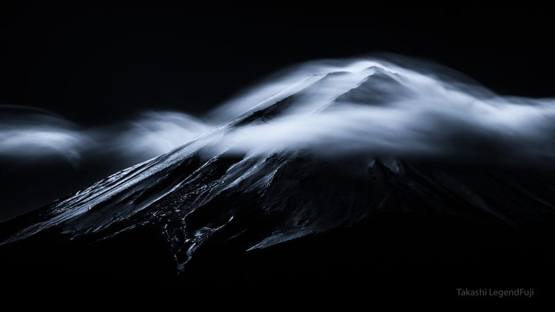 Fuji,mountain,Japan,clouds,sky,landscapes,snow,flow,time,amazing,beautiful,wonderful,black and white,monochrome, Cloud veilphoto preview