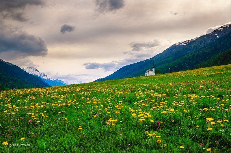 switzerland, landscape, mountains, church, landscape, spring,  Swiss churchphoto preview