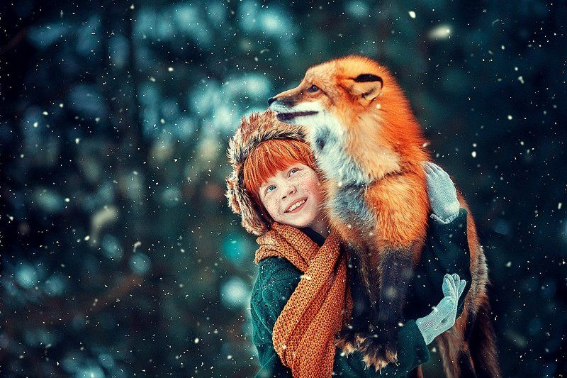 Рыжий, лиса, мальчик, зима Лисятаphoto preview