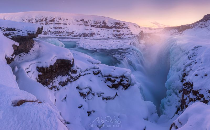 gullfoss, iceland, ice, winter, light Свежий Вечер у Гулфосаphoto preview