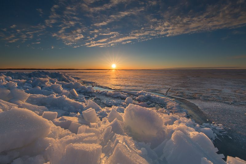 sun, ice, lake, clouds, sunset, солнце, лёд, озеро, облака, закат Last icephoto preview