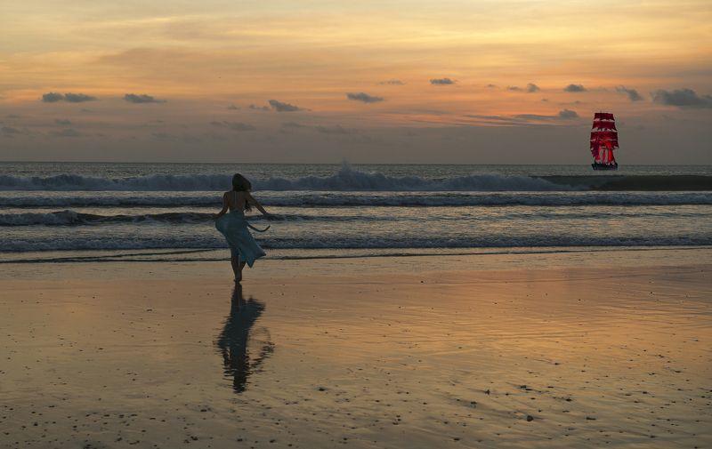 закат, океан, девушка, ксазка, алые паруса Ассольphoto preview