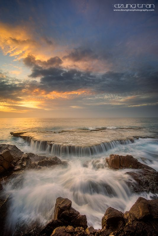 #seascape #vinhhy #rock #sunrise #clouds #nature #beauty Seawaterfallphoto preview