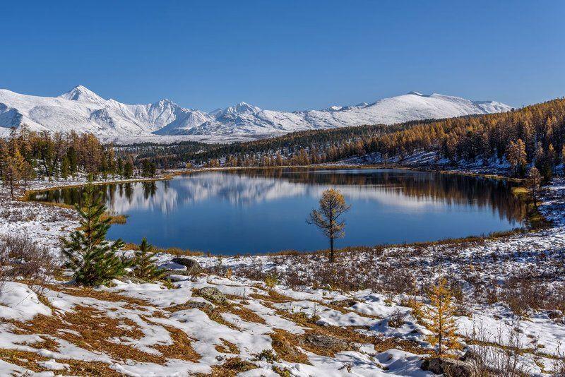 озеро, снег, осень, киделю, алтай, lake, snow, autumn, altai Осеннее Киделюphoto preview