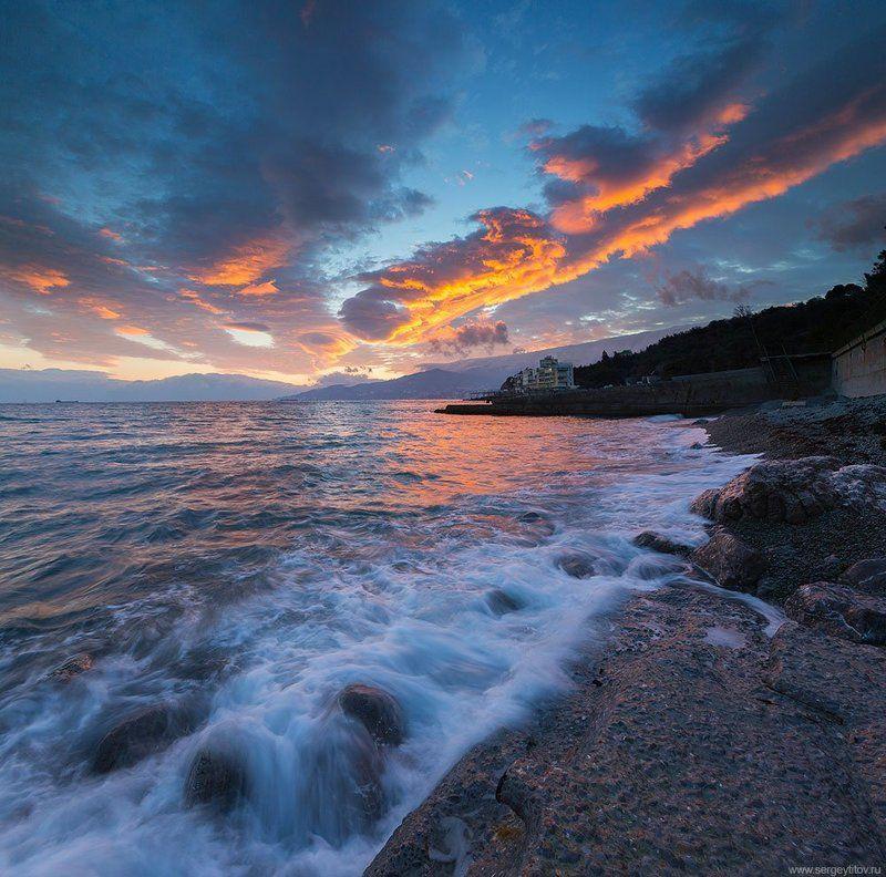 крым, ялта, море, пляж, волна, никита, зима, снег, мороз, циклон, крымские пейзажи, фотограф ялта, фотограф крым Морской закат в Ялтеphoto preview