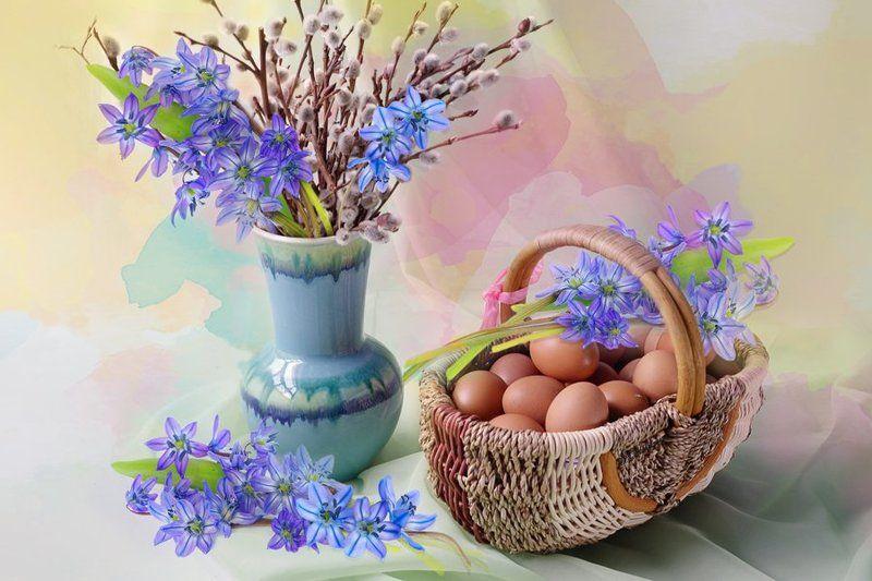 пасха,натюрморт,верба,пасхальное яйцо,в.павлухина, Светлый праздник Пасхаphoto preview