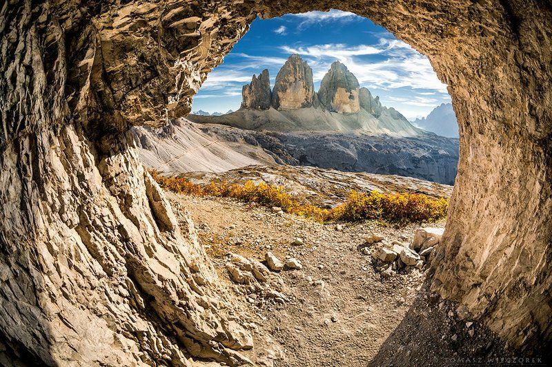 dolomiti, dolomities, italy, italia, summer, light, mountains, tre cime, lavaredo, tre cime di lavaredo, cave Cave with magical viewphoto preview