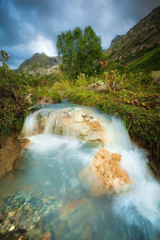 ручей, водопад, лето, архыз, кавказ Свежестьphoto preview