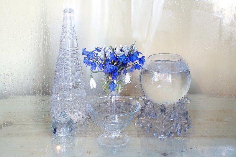 подснежники,стекло,ваза,вера павлухина, Весеннее стеклоphoto preview