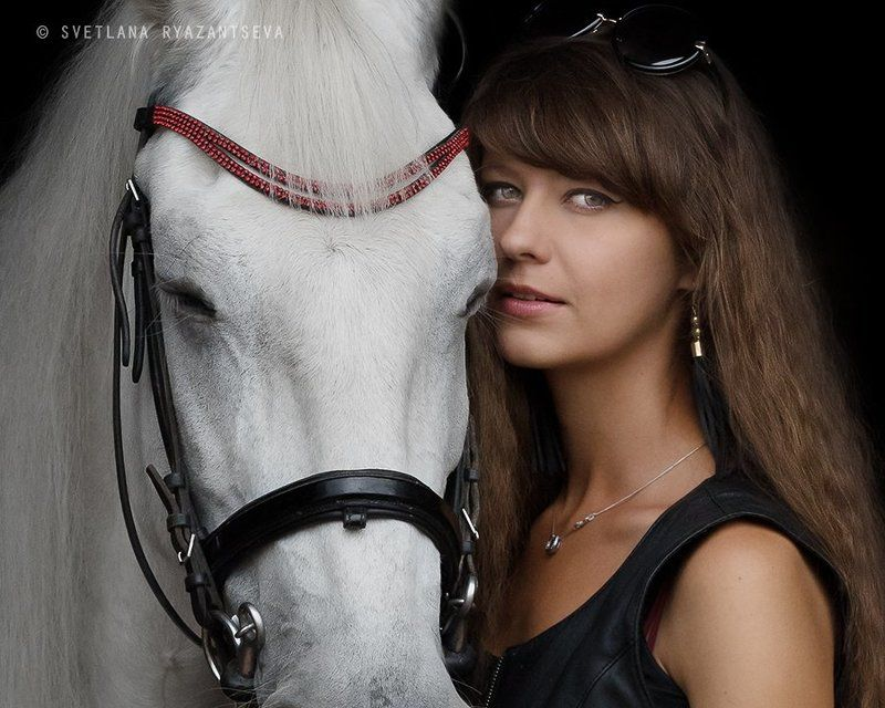horse, girl, horse & girl, portrait, портрет, лошадь, человек и лошадь тишинаphoto preview