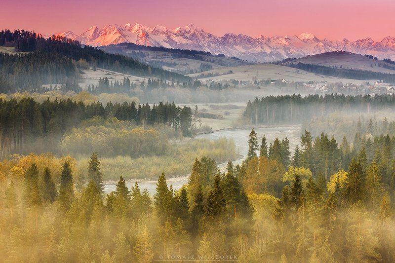 sunrise, spring, river, fog, mist, poland, tatras, tatry, mountains, colours, light, peaks, morning, snow Light and fogphoto preview