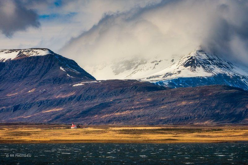 iceland, church, landscape, mountains, red, outdoor, winter, ocean,  Onephoto preview
