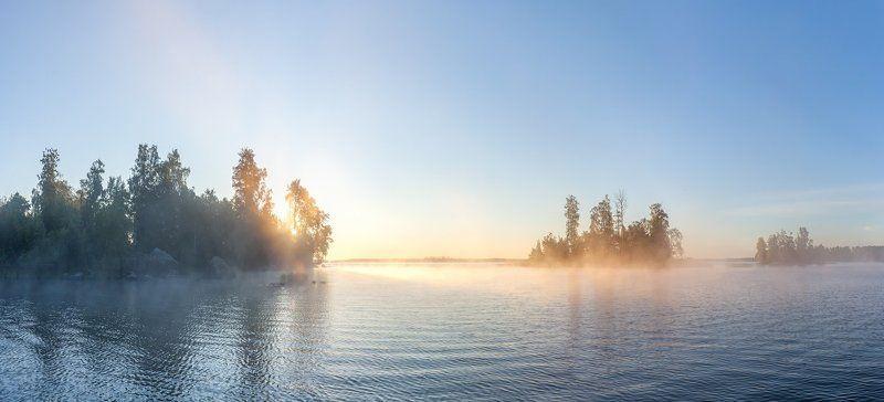 Вуокса, Ленобласть, Ленинградская область, туман, восход \