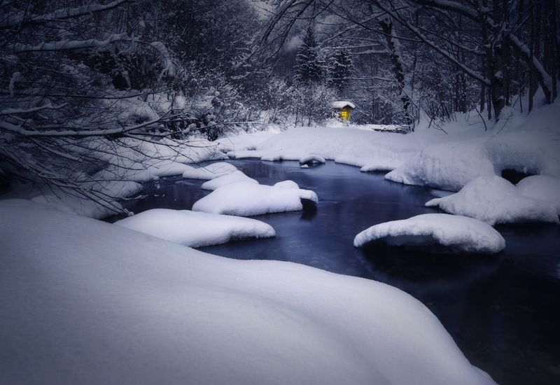 landscape, nature, snow, river, hut, пейзаж, природа Winter storyphoto preview